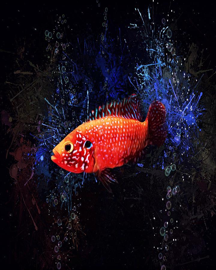 Fish Digital Art - Sunburst Peacock Cichlid Vertical Aquatic Portrait  by Scott Wallace Digital Designs