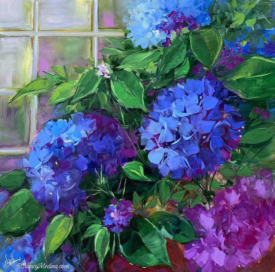 Hydrangeas Painting - Sunday Blue Bloomers Hydrangeas by Nancy Medina