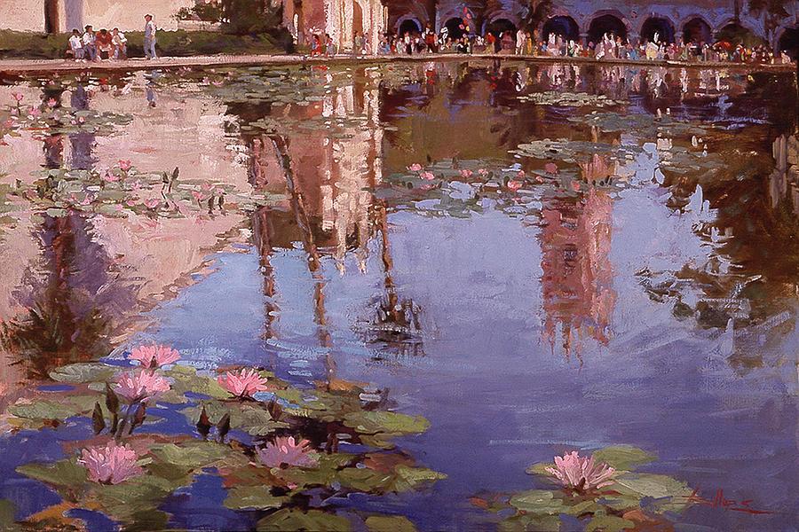 Sunday Reflections - Balboa Park Painting by Betty Jean Billups