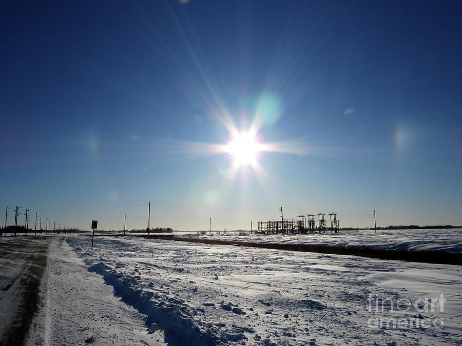 Sundogs Over Substation Photograph