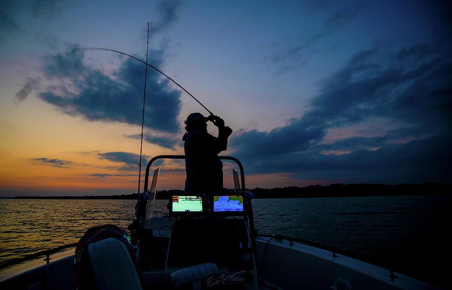Texas Photograph - Sundown Fisherman by Erich Grant