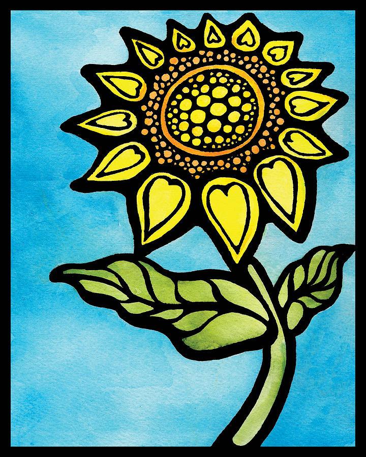Sunflower #1 - Heart Petals Mixed Media