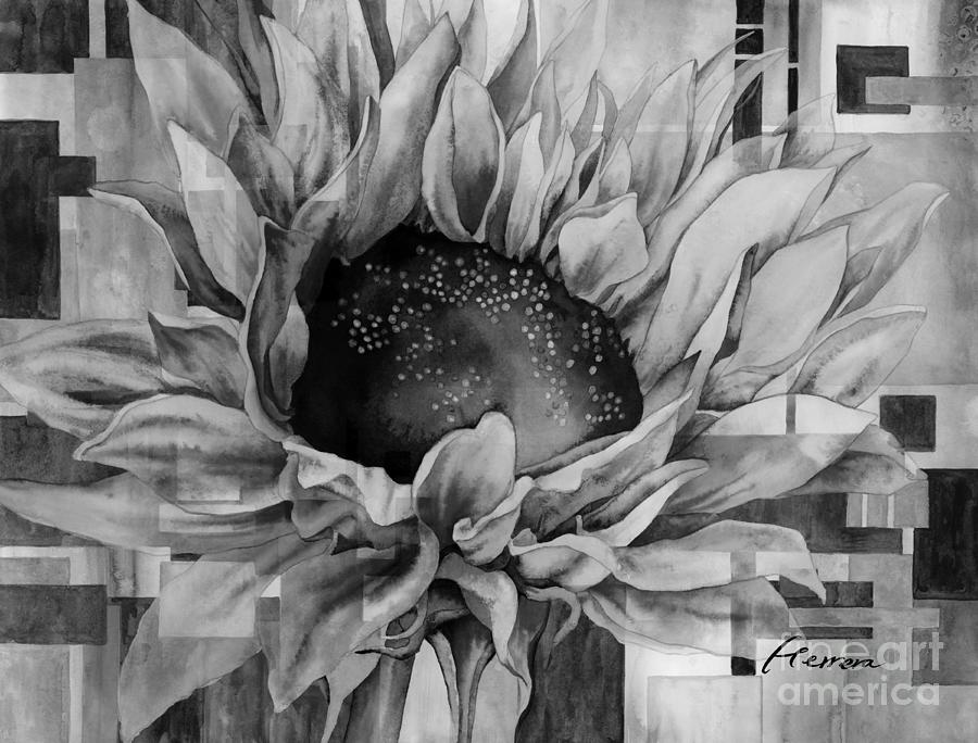 Sunflower Canopy In Black And White Painting
