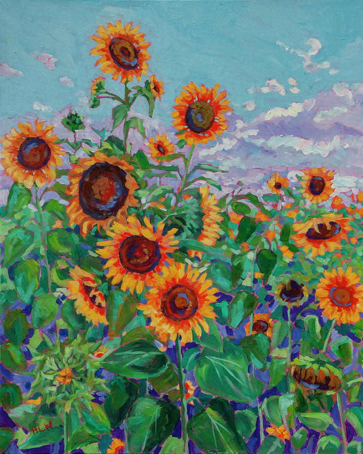 Sunflower field 5 Painting by Heather Nagy