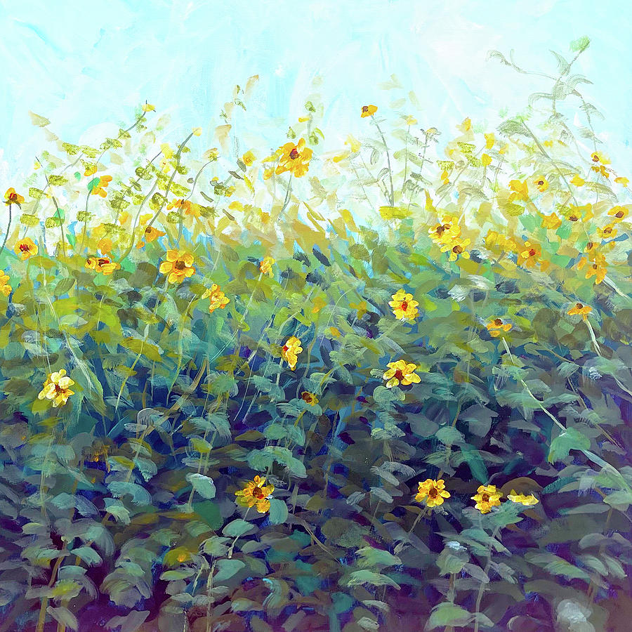 Sunflower Painting - Sunflower Patch by Charles Wallis