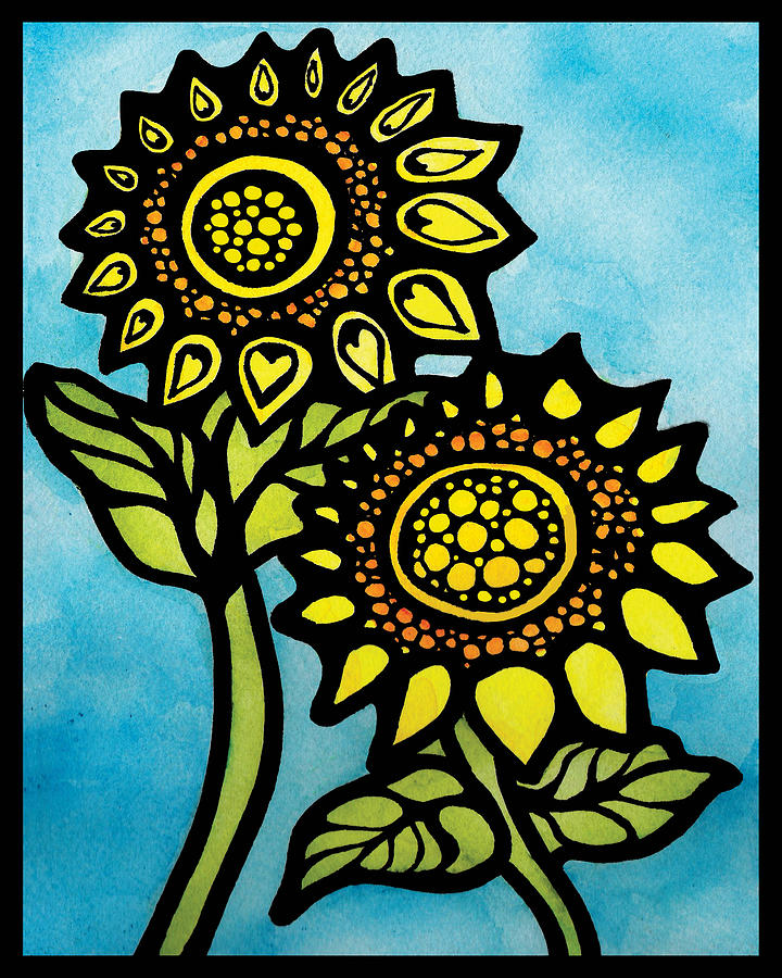 Sunflowers #2 -happy Together Mixed Media