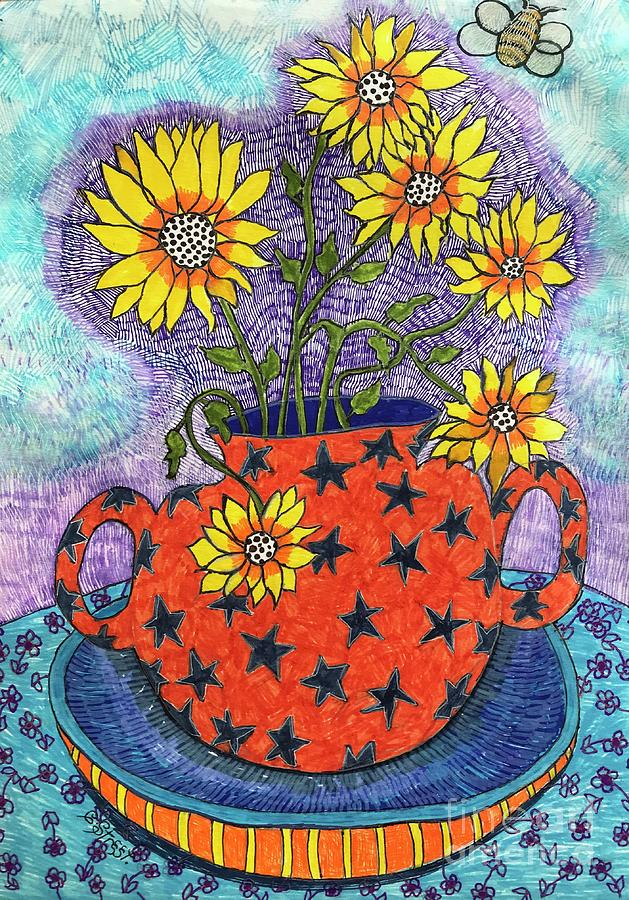Sunflowers And Stars Drawing
