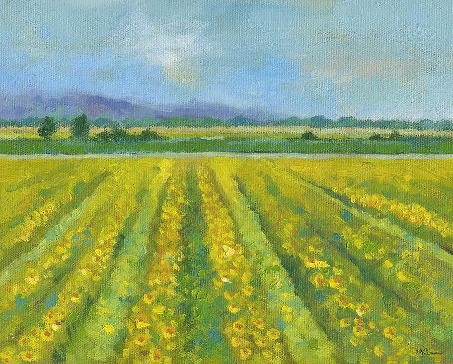Landscape Painting - Sunflowers Field at Elkhorn Basin Ranch by Marlene Lee