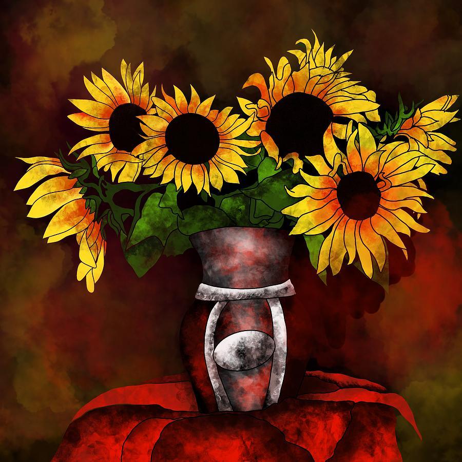 Sunflowers in a vase on dark background by Patricia Piotrak