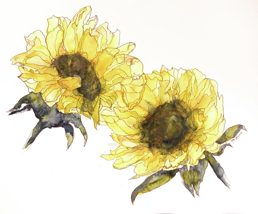 Watercolor Painting - Sunflowers by Kelly Edwards