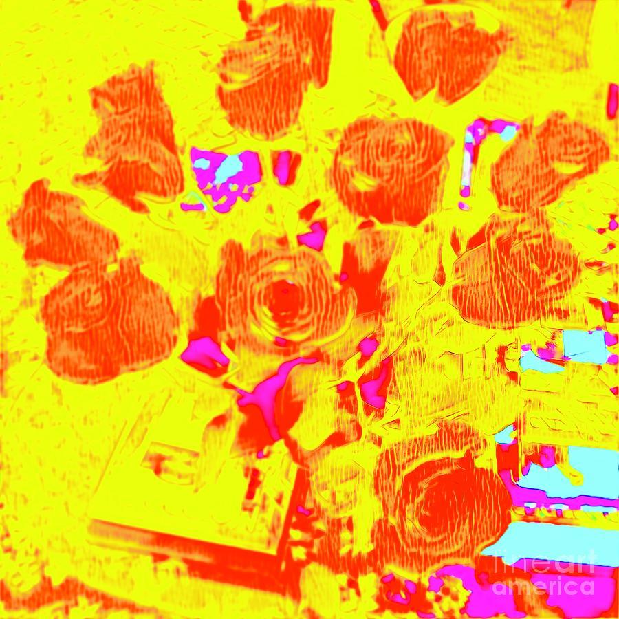 Yellow Digital Art - Sunlit Roses by Karen Francis
