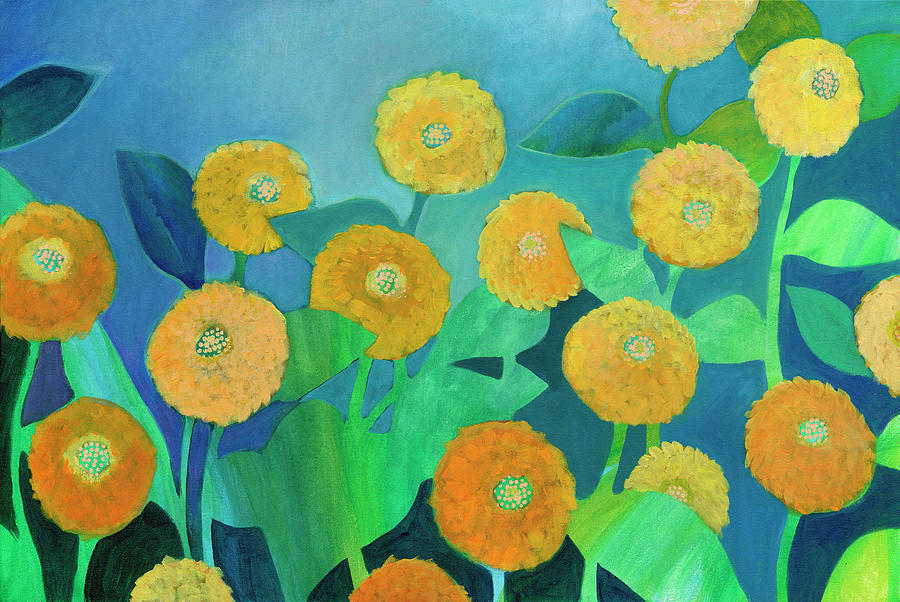 Sunny Flowers In Blue Painting