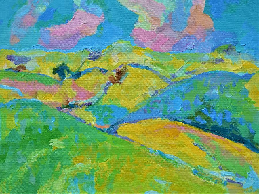 Hills Painting - Sunny Hills by Aletha Kuschan