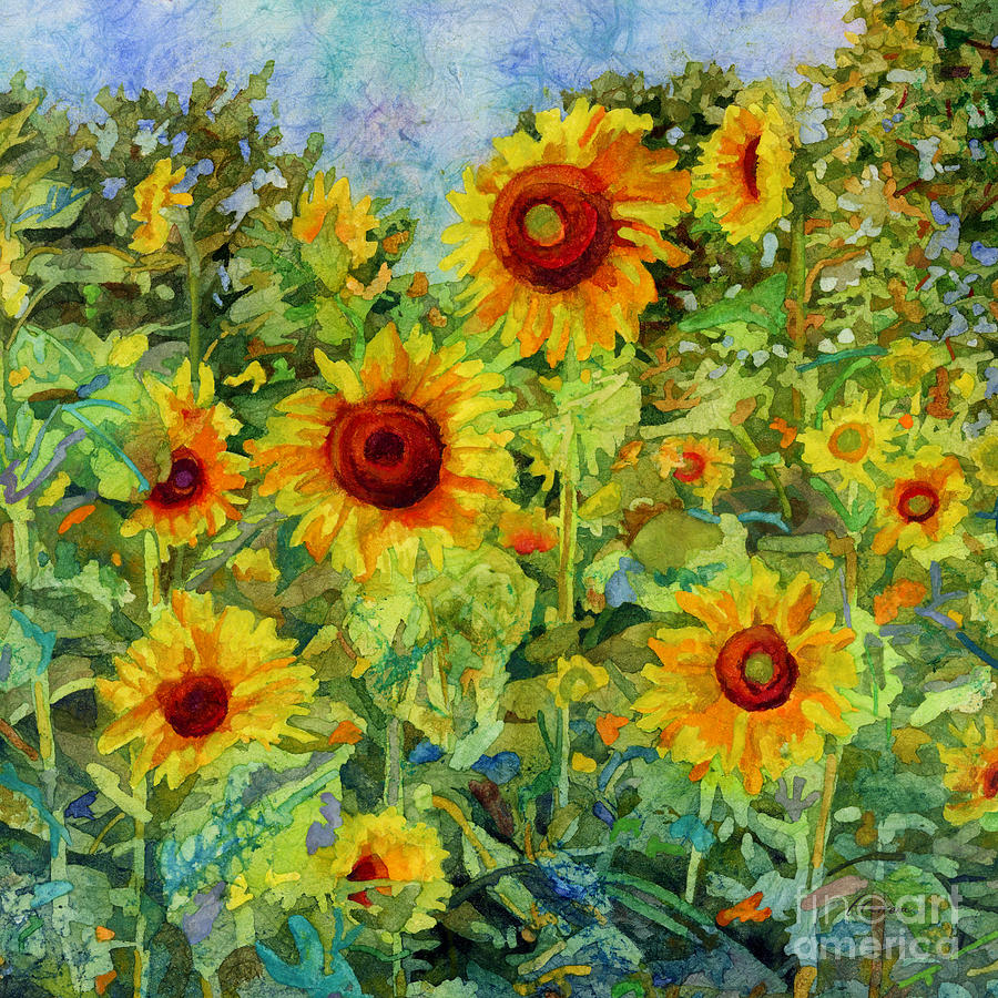 Sunflower Painting - Sunny Meadow-square format by Hailey E Herrera