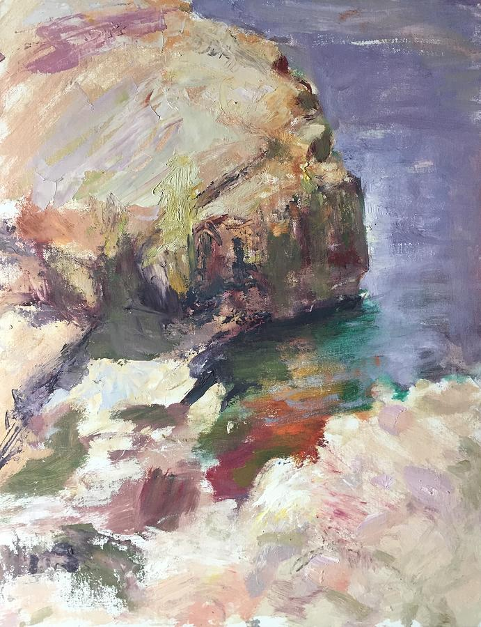 Sunny Rocks, Umpqua River, Plein Air Painiting, Original Impressional Art by Quin Sweetman