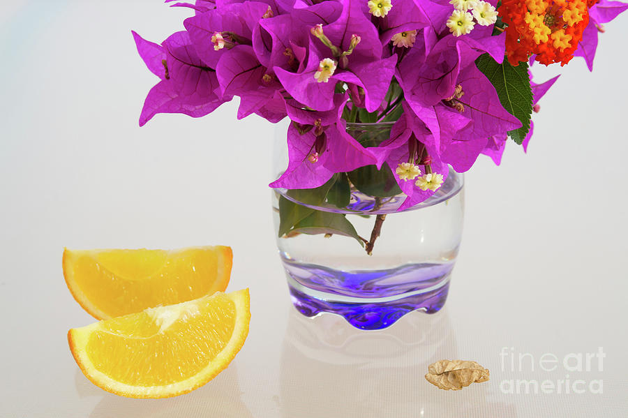 Sunny Yellow Orange Slices And Pink Flowers Photograph