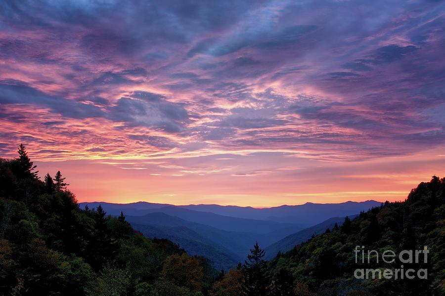 Smokies Photograph - Sunrise At Luftee Overlook 2 by Phil Perkins
