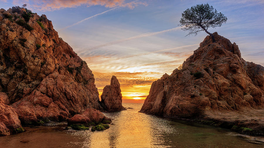 Beautiful Photograph - Sunrise At The Small Sea Of Tossa De Mar by Vicen Photography