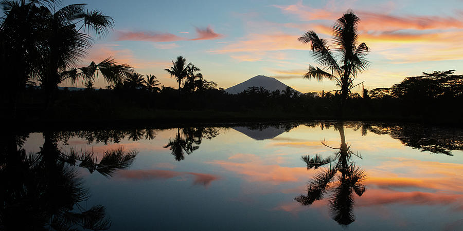 Bali Photograph - Sunrise in Bali with volcano Mount Agung by Ellis Peeters