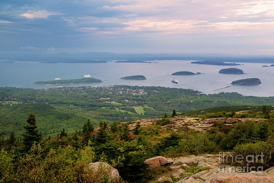 Panorama Of The Summit Of Cadillac Mountain The Highest Point In Acadia National Park Maine Photograph By Yefim Bam