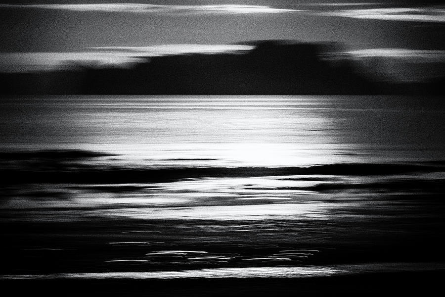 Sunrise Seascape - Black And White Photograph