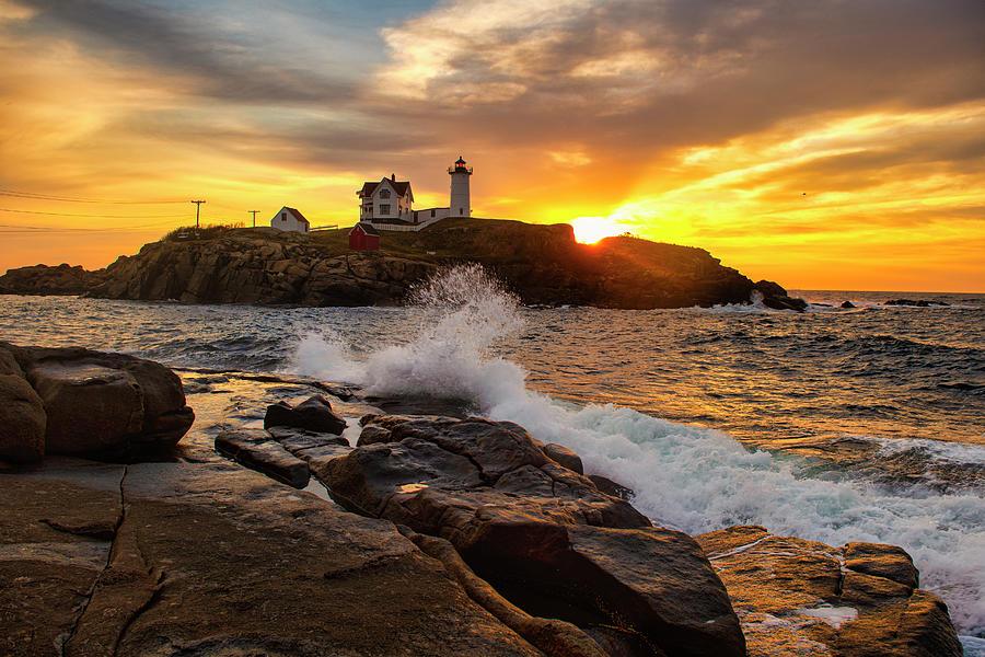 Lighthouse Photograph - Sunrise Wave by Sandra Marie Photography