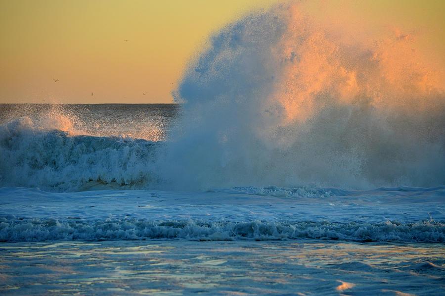 Ocean Photograph - Sunrise - When Waves Collide  by Dianne Cowen