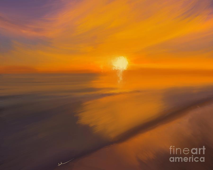Sunrise Painting - Sunset 52521 by Jack Bunds