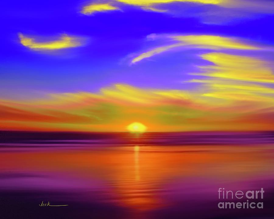 Sunset Painting - Sunset 83021 by Jack Bunds