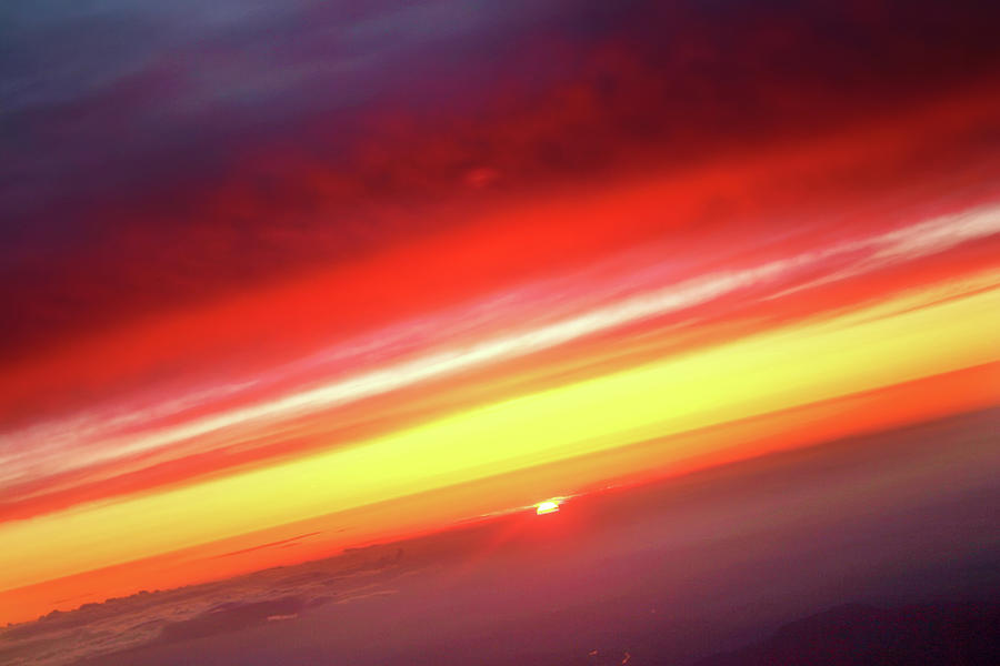 Sunset Above The Clouds Planet Earth Photograph