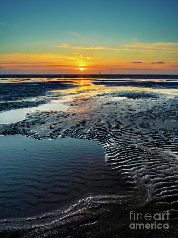 Sunset Across Formby Beach Photograph
