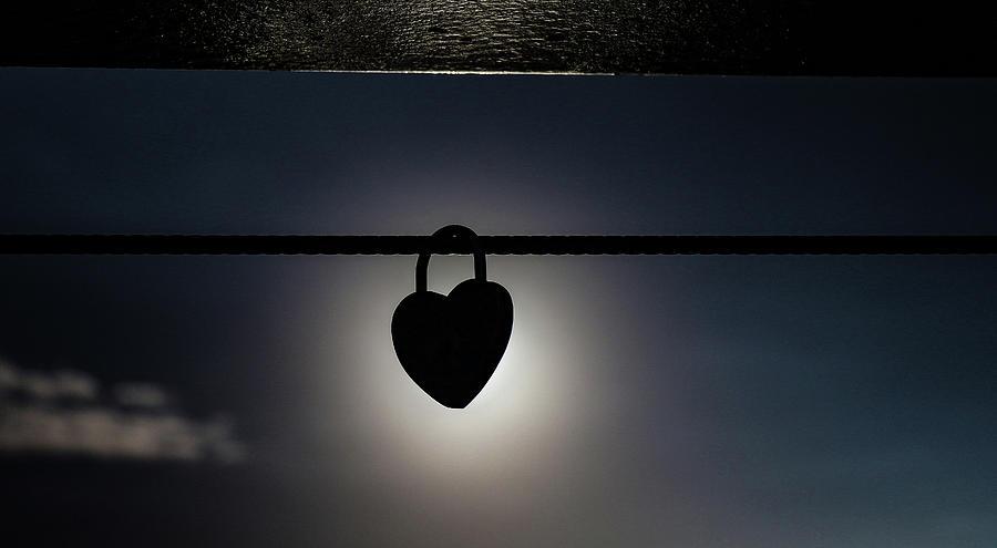 Sunset Photograph - Sunset and love locks by Leigh Henningham