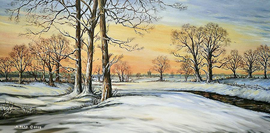 Sunset And Snow Cool Edit Painting
