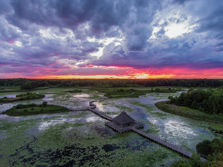 Landscape Photograph - Sunset At Crosswinds Marsh by Gales Of November