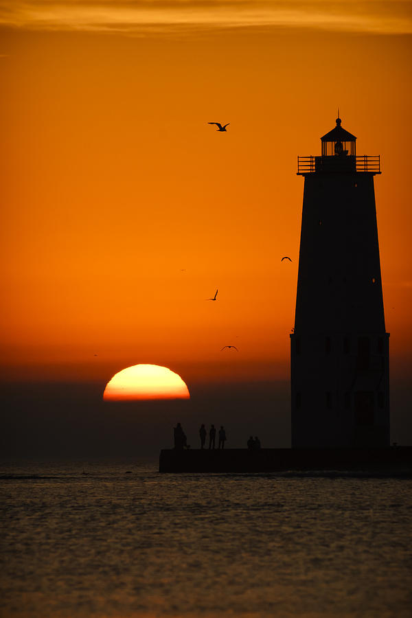 3scape Photograph - Sunset at Frankfort North Breakwater Lighthouse by Adam Romanowicz