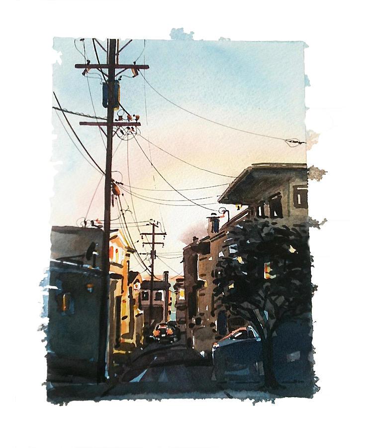 Sunset At  Manhattan Beach Painting