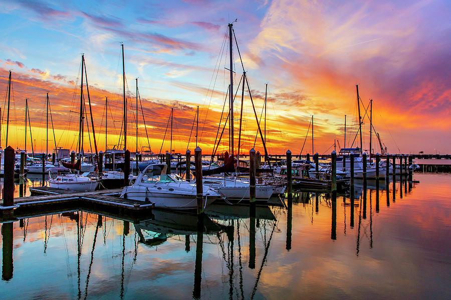 Sunset At Old Point Comfort Marina Photograph
