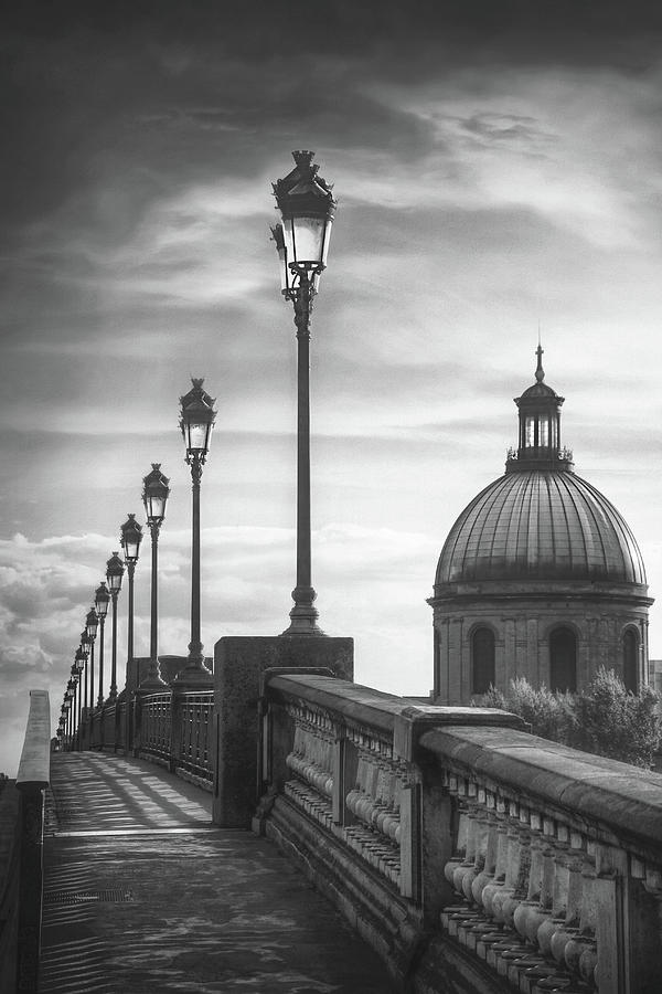 Sunset At Pont Saint Pierre Toulouse France Black And White Photograph