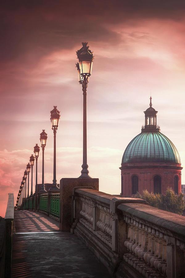 Sunset At Pont Saint Pierre Toulouse France Photograph