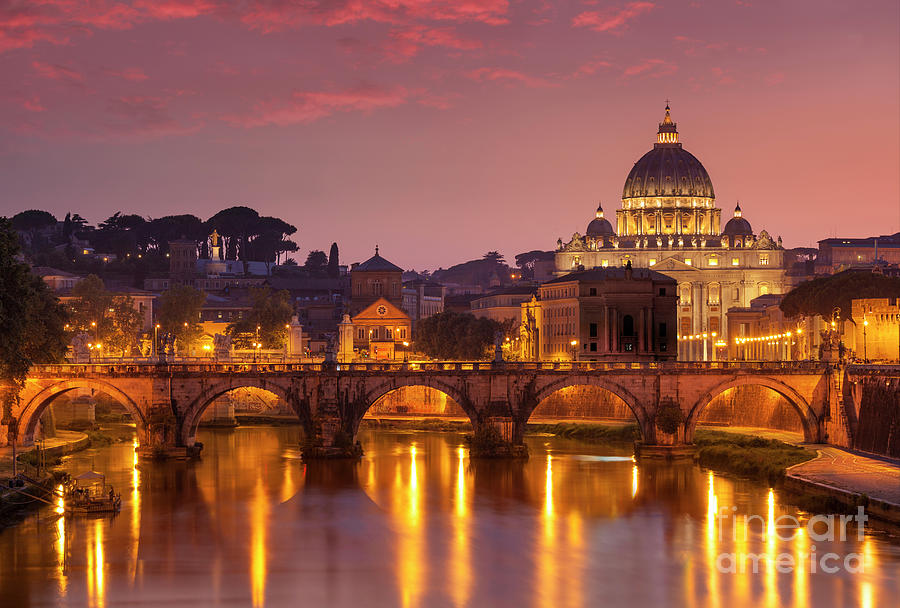 Sunset at St Peters Basilica, Rome by Neale And Judith Clark