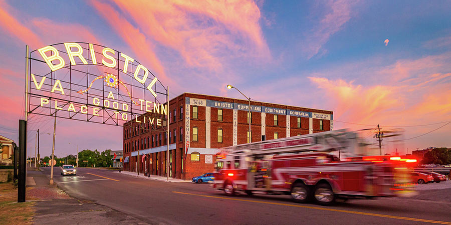 Sunset at the Bristol Sign by Greg Booher