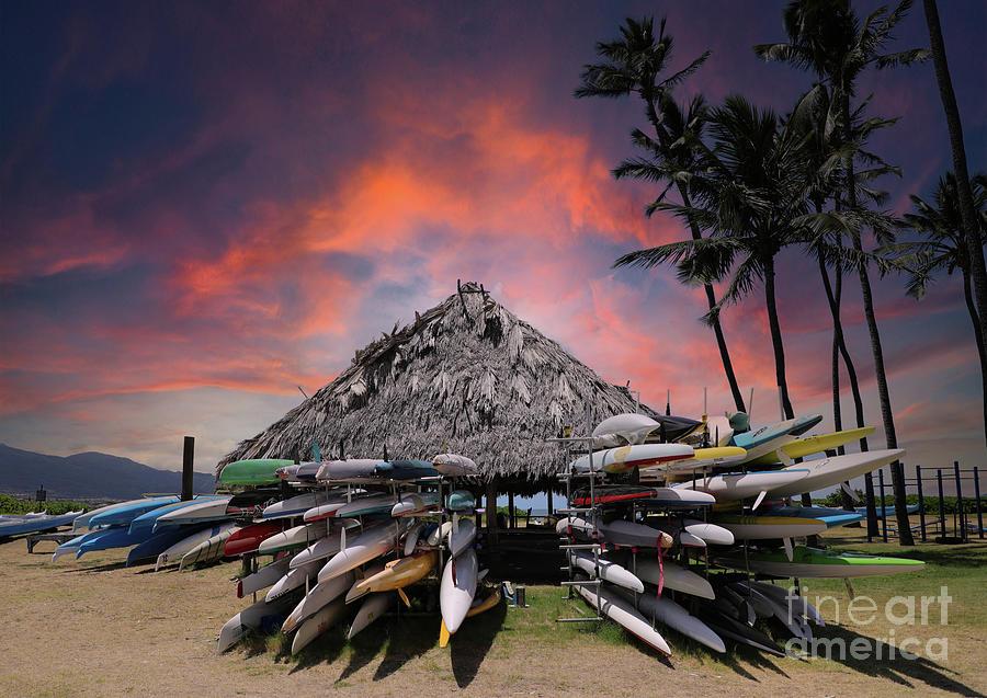Sunset At The Canoe Hale Hoaloha Kahului Maui Hawaii Photograph