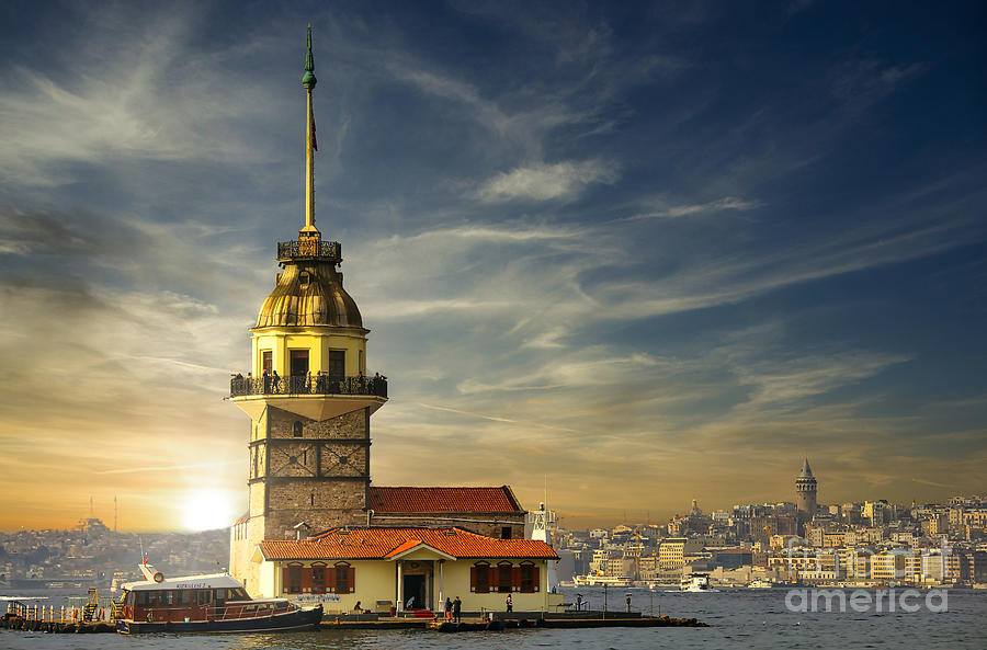 Sunset at the Maiden Tower, Istanbul, Turkey by Sam Antonio Photography