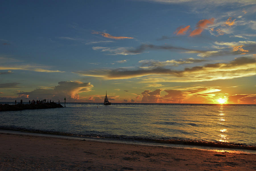Nokomis Florida Photograph - Sunset at the North Jetty by Mike Brown