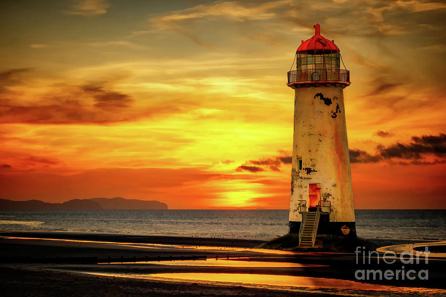 Sunset At The Point of Ayr Lighthouse by Adrian Evans
