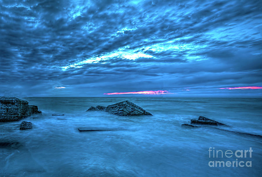 Long Exposure Photograph - Sunset At Waterfront, Long exposure by Felix Lai