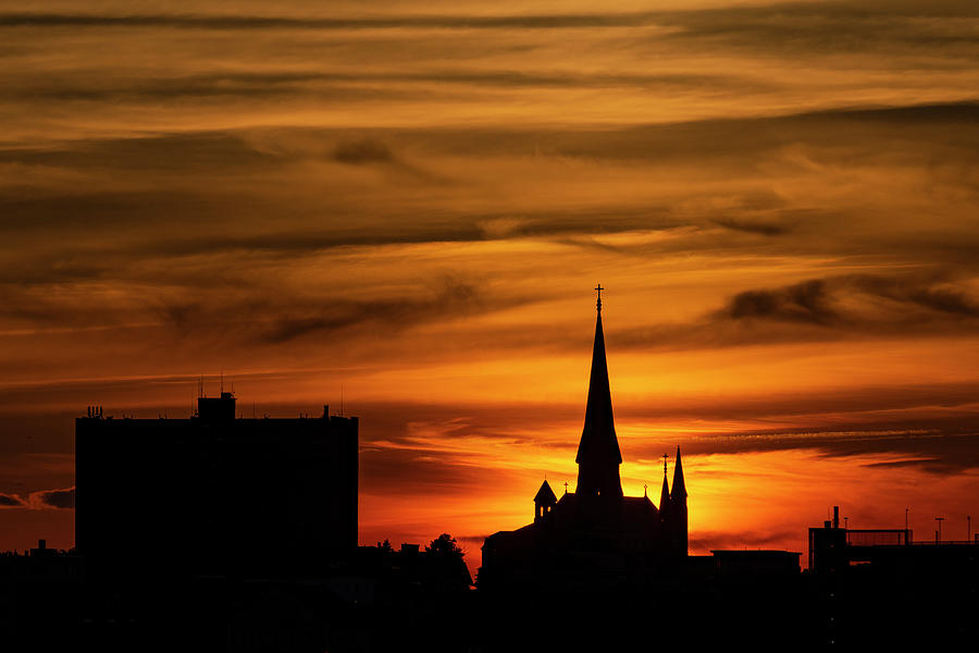 Sunset Photograph - Sunset Behind The Cathedral by Bob Doucette