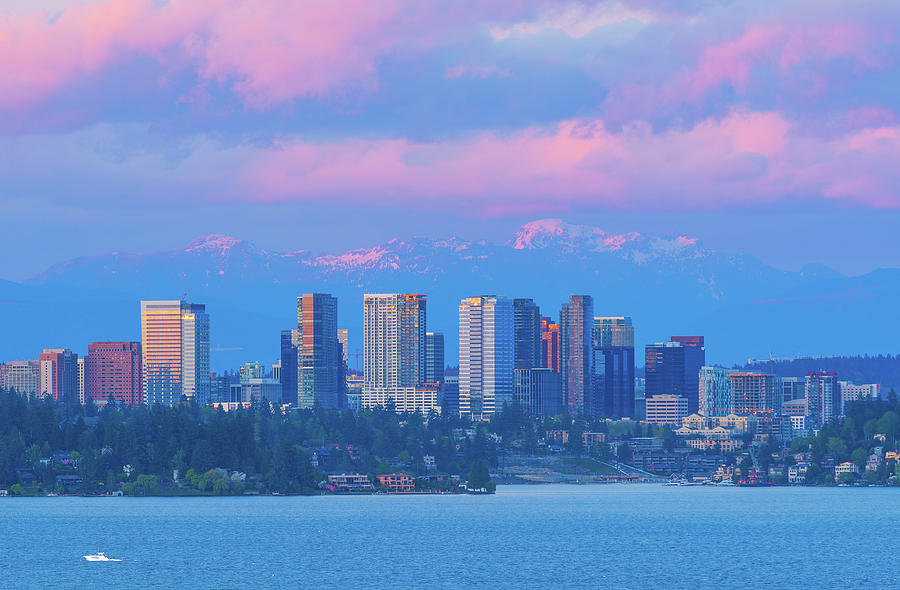 Sunset Bellevue over Lake Washington by Michael Lee