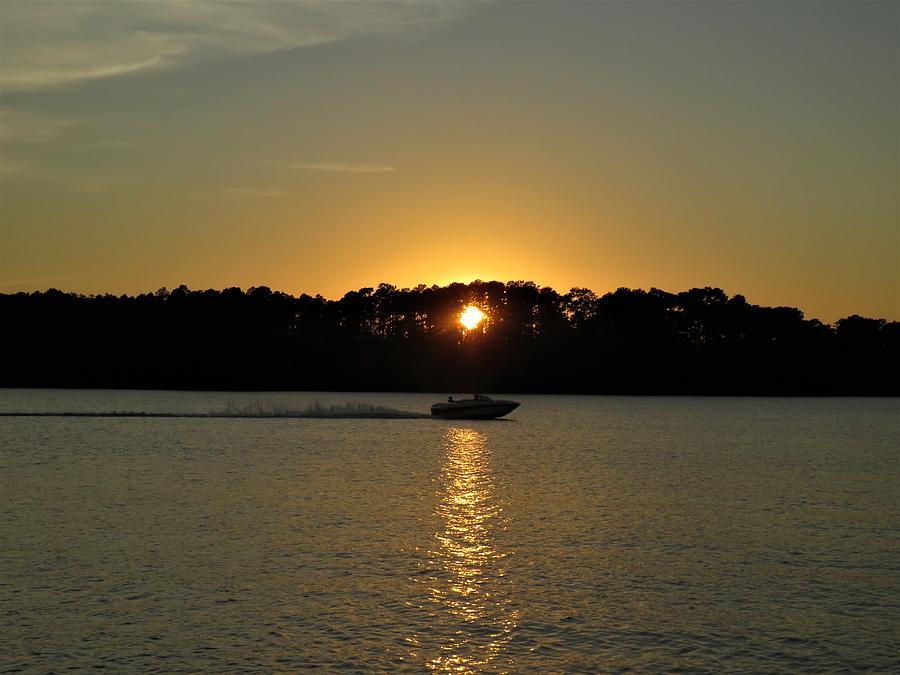 Sunset Boat Kiss Photograph