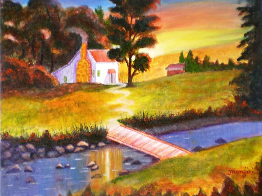 Sunset Cottage Painting by Manjiri Kanvinde